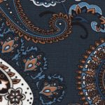 Navy Paisley Fabric - 100% Cotton | Vintage Paisley Fabric