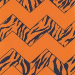 Orange and Blue Chevron Fabric | Animal Skin Print Fabric - Print #1564