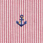 Navy Blue Anchor Fabric | Embroidered Seersucker Fabric - Anchors