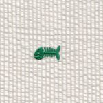 Embroidered Seersucker Fabric - Kelly Bonefish on Khaki | Fish Fabric