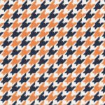 Orange and Navy Houndstooth Fabric | Orange and Navy Fabric