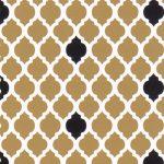 Bronze and Black Quatrefoil Fabric | Quatrefoil Fabric - Print #1740