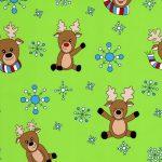 Reindeer Fabric   Christmas Fabric - Lime - Print 1861