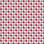Grey, White and Red Houndstooth Fabric - 100% Cotton | Cotton Fabric