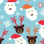 Santa Claus Fabric   Reindeer Fabric   Christmas Cotton Fabric