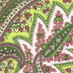 Pink and Green Paisley Fabric | Paisley Fabric Wholesale - 100% Cotton