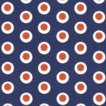Dot Fabric - Orange and Navy | Orange and Navy Fabric - #1975