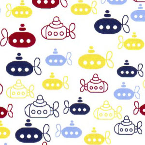 Submarine Fabric - Yellow, Red and Blues Submarines | Nautical Fabric - Print #2000