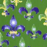 Fleur De Lis Fabric - Mardi Gras Fabric | Mardi Gras Cotton Fabric - #2009