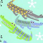 Alligator Print Fabric - Blue and Green | Alligator Fabric - #2015
