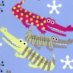 Alligator Print Fabric - Raspberry and Green | Alligator Fabric - #2017