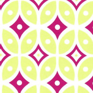 Raspberry and Green Geometric Fabric | Geometric Cotton Fabric - #2018