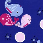 Baby Whale Fabric - Pink, Raspberry and Blue | Whale Print Fabric
