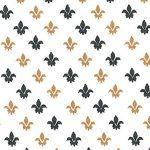 Fleur De Lis Fabric -Black and Bronze | Black and Bronze Fabric