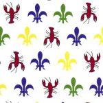 Crawfish Fleur-de-lis Fabric | Crawfish Fabric - 100% Cotton
