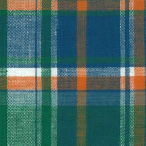 Madras Plaid Fabric - Green, Orange and Blue | Madras Fabric Wholesale