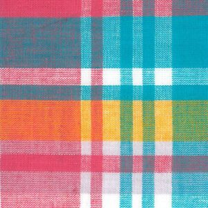 Madras Plaid Fabric - Pink, Yellow and Blue | Madras Plaid