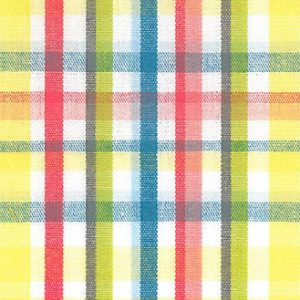 Tomato, Brown, Lime, Yellow and Teal Check Fabric