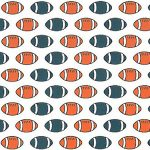 Football Print Fabric: Orange and Navy | Football Cotton Fabric: 100% Cotton