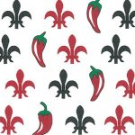 Fleur-de-lis and Pepper Fabric: 100% Cotton | Chili Pepper Fabric