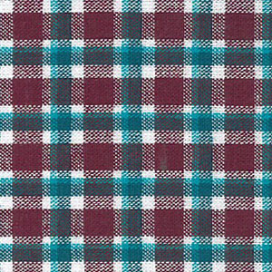 Burgundy and Turquoise Plaid Fabric