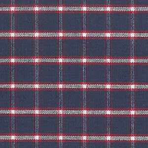 Navy and Red Plaid Fabric