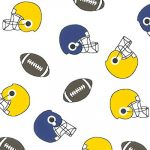 Helmets and Football Print Fabric: Purple & Gold | Wholesale Print Fabric