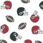 Football Print Fabric: Red, Black and Brown | Wholesale Cotton Fabric