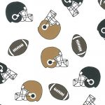 Helmet and Football Print Fabric: Black and Bronze | Wholesale Fabric