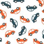 Car Print Fabric: Navy and Orange Cars | Wholesale Cotton Fabric