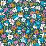 Turquoise, Gold and Navy Floral Fabric | Wholesale Floral Fabric