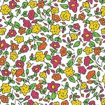 Orange, Raspberry and Gold Floral Fabric | Floral Fabric Wholesale