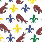 Red Shrimp with Purple, Kelly and Gold Fleur de lis Fabric | Cotton Fabric