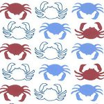 Red and Blue Crab Fabric: Mini Crabs on White | Crab Print Fabric