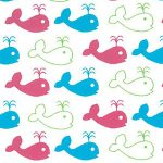 Whale Print Fabric: Turquoise, Raspberry, Green - Mini Whales
