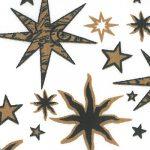 Black and Bronze Stars on White