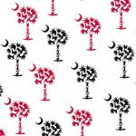 Palmetto Tree Fabric: Garnet and Black | Garnet and Black Fabric
