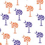 Palmetto Tree Fabric: Purple and Orange | Purple and Orange Fabric