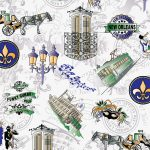 New Orleans Fabric: 300th Anniversary Print: Purple, Green & Yellow
