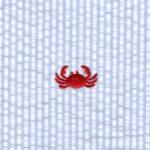 Crab Embroidered Seersucker Fabric | 100% Cotton Seersucker Fabric