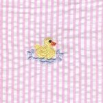 Duck Print Fabric - Embroidered Seersucker Fabric | Yellow Ducks on Pink