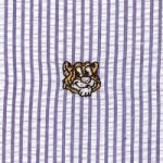 Embroidered Seersucker Fabric- Orange Tiger | Tiger Print Fabric