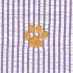 Embroidered Seersucker Fabric - Gold Paw | Paw Print Fabric