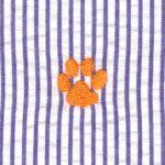 Embroidered Seersucker Fabric | Orange and Purple Fabric