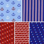 Nautical Themed Fabric - Wholesale Cotton Fabric - Red, White and Bluea