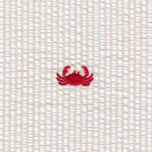 Crab Seersucker Fabric: Red Crab | Embroidered Seersucker Fabric