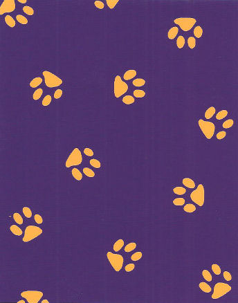 Print 1579 Gold Paw Prints On Purple Fabric Finders Inc
