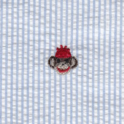 Monkey Fabric | Embroidered Seersucker Fabric - Monkey on Blue