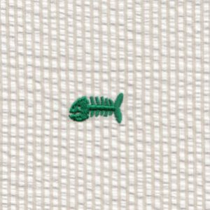 Embroidered Seersucker Fabric - Kelly Bonefish on Khaki | Fish Fabric