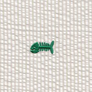 Embroidered Seersucker Fabric Kelly Bonefish On Khaki Fish Fabric